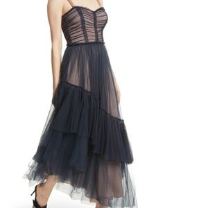 Cinq À Sept Coletta Navy Tulle Asymmetrical Dress